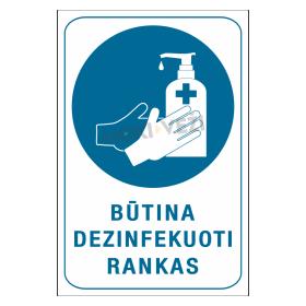 Ženklas BŪTINA DEZINFEKUOTI RANKAS, 150 x 220 mm, lipdukas