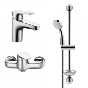 Dušo komplektas HERZ INFINITY, komplekte: praustuvo maišytuvas, dušo maišytuvas ir dušo laikiklis, stovas, dušo galvutė, UH00070, Austrija