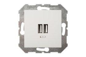 Kištukinis lizdas LIREGUS EPSILON 2xUSB, įleidžiamas, baltos spalvos, IUK-2-01 E/B, max. 3.4A, b/r