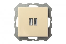 Kištukinis lizdas LIREGUS EPSILON 2xUSB, įleidžiamas, smėlio spalvos, IUK-2-01 E/S, max. 3.4A, b/r