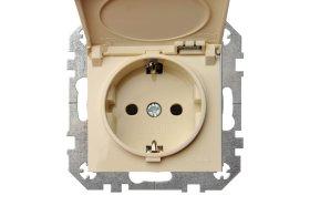 Kištukinis lizdas LIREGUS EPSILON 1 vietos, įleidžiamas, smėlio spalvos, su įžeminimu, IP44 b/r, IKL16-408-01 E/S