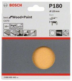 Šlifavimo lapelių rinkinys BOSCH, D 125 mm, K 180, 10 vnt.
