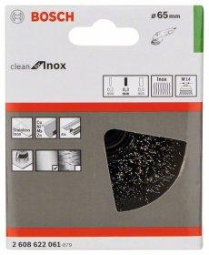Taurės formos lenktos vielos šepetys BOSCH iš nerūdijančiojo plieno 65 mm, 0,3 mm, M14