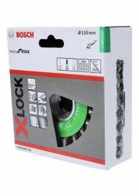 Vielinis šlifavimo diskas BOSCH X-LOCK, pintos vielos, nerūdijančiojo 115 mm, 0,5 mm