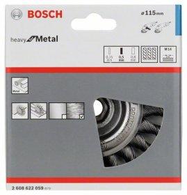 Vielinis šlifavimo diskas BOSCH, pinta viela, iš 115 plieno 115 mm, 0,5 mm, 12 mm, M14