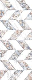 Plytelių keraminis dekoras KAI ELADA 4670, 20 x 50 cm, 1,100 m2/dėž., baltas marmuras, zigzagai, Bulgarija