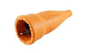 Lizdas kištukui ABL, IP44, 16A, 250V, su įžeminimu, guminis, oranžinis, 0008810