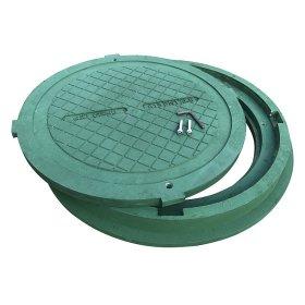 Kanalizacijos ššulinio dangtis HD A15 800mm, 30kg, apkrova 1,5t, rakinamas, polimerinis, žalia sp.