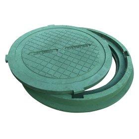 Kanalizacijos ššulinio dangtis HD A15 800mm, 30kg, apkrova 1,5t, polimerinis, žalia sp.