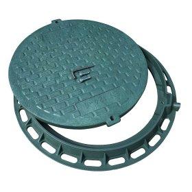 Kanalizacijos ššulinio dangtis A5 740mm, 7,5kg, apkrova 0,5t, rakinamas, polimerinis, žalia sp.