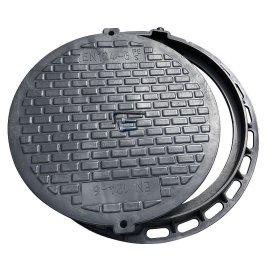 Kanalizacijos ššulinio dangtis A5 740mm, 7,5kg, apkrova 0,5t, rakinamas, polimerinis, juoda sp.