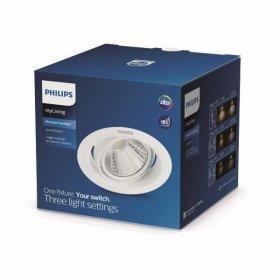 Montuojamas šviestuvas PHILIPS POMERON, įleidžiamas, LED 3 W, 4000 K, dimeriuojamas, 210 lm, IP20, 15000 val., 90 mm skersmens