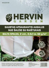 Gaubtas apsaugantis augalus nuo šalčio su raištukais HERVIN GARDEN A691330008, baltos sp., 2 vnt., 0,5x1m, 50g/m2, WC0,5X1/50