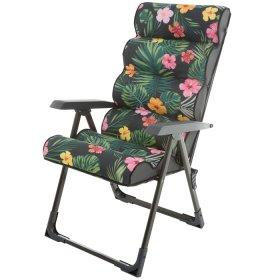 Kėdė su porankiais PATIO Lepe L128-16PB, 59x118x105 cm, sulankstoma, plienas, tekstilė, maksimali apkrova iki 110kg