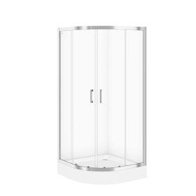 Dušo kabina CERSANIT SET B162, 90 x 185 cm, pusapvalė, su padėklu 90 x 16 cm, skaidrus 5 mm stiklas, S601-118