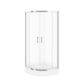 Dušo kabina CERSANIT SET B161, 80 x 185 cm, pusapvalė, su padėklu 80 x 16 cm, skaidrus 5 mm stiklas, S601-117