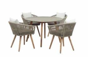 Lauko baldų komplektas HERMAN LOUNGE LDP01, stalas 90x90x75cm, 4 krėslai 64x61x82cm