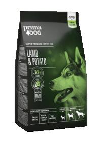 Sausas šunų ėdalas PRIMADOG, ėriena-bulvės visiems suaugusiems šunims 2 kg