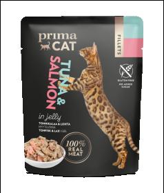 Konservuotas kačių ėdalas PRIMACAT, tuno filė su lašiša drebučiuose, 50g