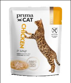 Konservuotas kačių ėdalas PRIMACAT Soups, vištiena sriuboje, 40g