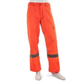 Kelnės darbinės  HERVIN, 58, oranžinės su šviesą atspindinčiomis juostomis