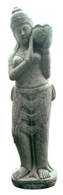 Sodo statula Dama su ąsočiu, pagaminta iš žaliojo akmens, aukštis - 150 cm, 150 kg., netinka sąlytis su druska