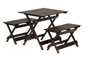 Lauko baldų komplektas 4LIVING, stalas 78x59,5x64x5cm,2 suoliukai 78x29,3x40,5cm, sulankstomas, plienas, maksimali apkrova iki 80kg