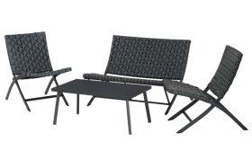 Lauko baldų komplektas TOULOUSE, stalas 90x50x39cm, 2 kėdės 54x79x76cm, sofa 104x79x76,5cm, plienas, polistieris, maksimali apkrova iki 150kg