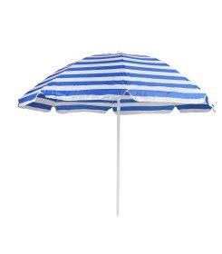 Dryžuotas pliažo skėtis  W01 balta/mėlyna skersmuo 200cm