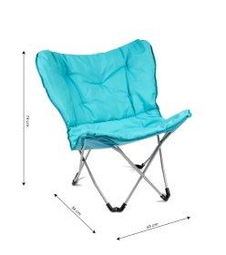 Sulankstoma turistinė kėdė XY - 147A, metalinė, medvilnė, mėlyna, 56 x 63 x 74 cm.