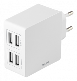 USB įkroviklis DELTACO USB-AC176, 4xUSB, 4,8A, 24W, 100-240V, baltos spalvos