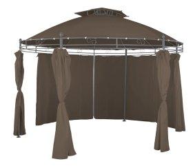 Sodo pavėsinė, apvali, skersmuo 350 cm., 6 kojos, rudai pilkos sp., plienas, tekstilė, poliesteris