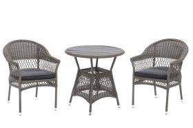Lauko baldų komplektas  LINDA, stalas, 2 kėdės, plienas
