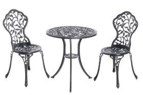 Lauko baldų komplektas ANTIQUE, stalas 60x64cm, 2 kėdės 38 x 36 x 83 cm, plienas, apkrova iki 110kg