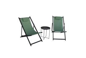 Lauko baldų komplektas NOVELLY HOME, EL-T028SW, EL-F1025A02, stalas, dvi kėdės, plienas/aliuminis, tekstilė, maks. apkrova iki 110kg kėdė/stalas 30kg