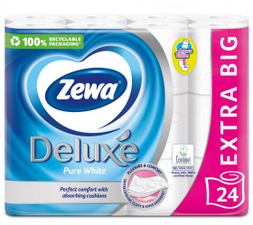 Tualetinis popierius ZEWA Deluxe Pure White, 3-jų sluoksnių, 24 vnt.