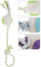 Žaislas šunims, virvė su teniso kamuoliuku, ilgis 52 cm.