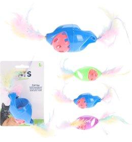 Žaislas katėms kamuoliukas su plunksnomis NO BRAND 1