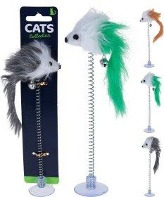Žaislas katėms pelytė ant spyruoklės NO BRAND 1