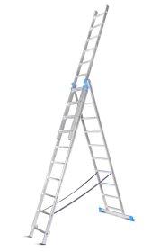 Aliumininės profesionalios ištraukiamos kopėčios HERVIN TOOLS PROFI 3x12 pakopų, 345-829 cm.