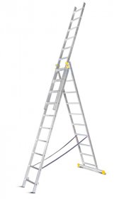 Universalios aliumininės dvipusės kopėčios HERVIN TOOLS (AC0311A) 3x11 pakopų, 294-704 cm.