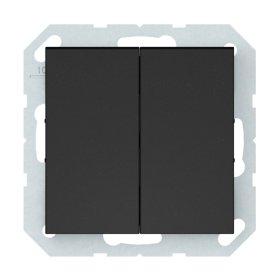 Perjungiklis VILMA QR1000 P(6+6)10-020-02, 2 klavišų, įleidžiamas, matinės juodos sp