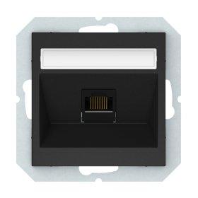 Kompiuterio lizdas VILMA QR1000 KLRJ45-16e2-02, 1 x RJ45, įleidžiamas, 6 kategorijos, matinės juodos sp