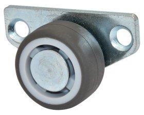 Stalčių ratukas su šonine plokštele d-30 mm, minkštas, cinkuotas, apkrova - 40 kg.