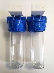 Filtro korpusas dvigubas ŠOMIS 10'' Pajungimas 3/4'', su laikikliu