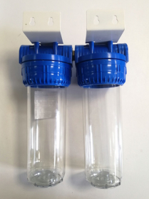 Filtro korpusas dvigubas ŠOMIS 10'' Pajungimas 1/2'', su laikikliu