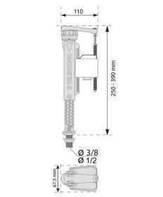 Vandens prileidimo mechanizmas WIRQUIN JOLLYFILL FL150TL4  3/8'', apatinio pajungimo, kilmės šalis Prancūzija