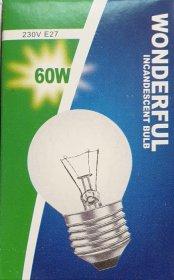 Kaitrinė lempa WONDERFUL, 60 W, E27, 230 V, burbuliukas, skaidrus, 275125