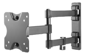 Televizoriaus laikiklis DELTACO ARM-1204, TV 13-27 colių, 3 krypčių, iki 20 kg, juodos sp.