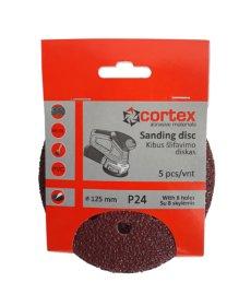 Šlifavimo diskas CORTEX, P24, 125 mm, 8 skylės, 5 vnt.